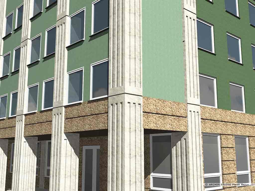 Przebudowa budynku biurowego na sad- detal elewacji