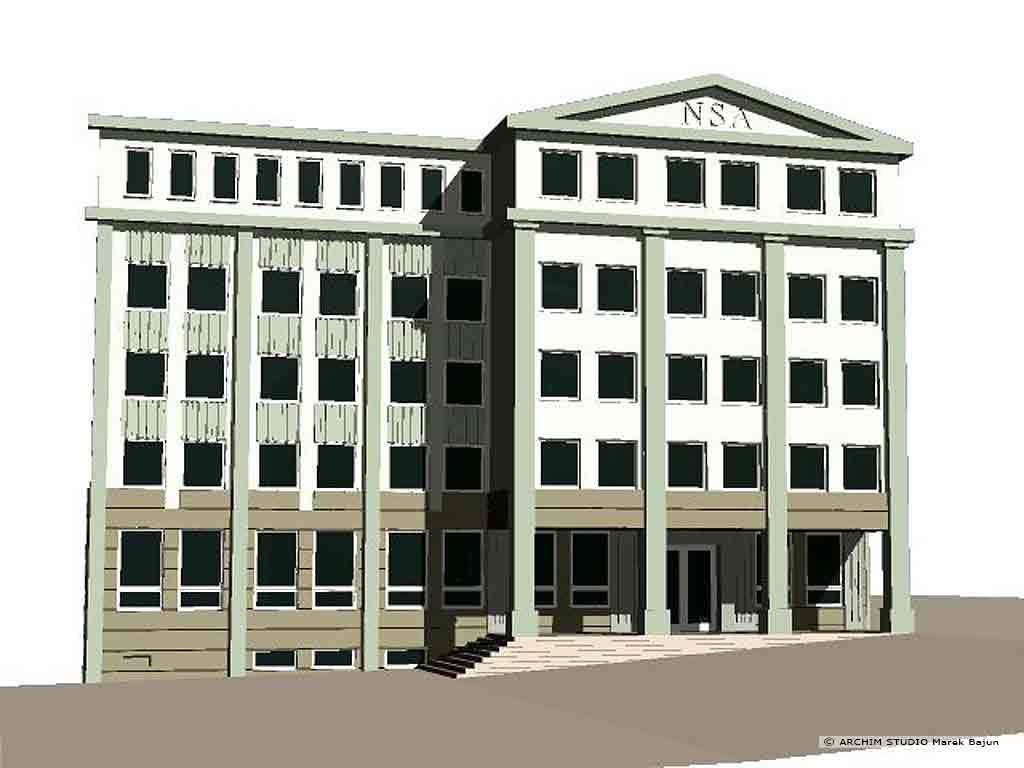 Przebudowa budynku biurowego na sad- widok frontu wersji klasycznej