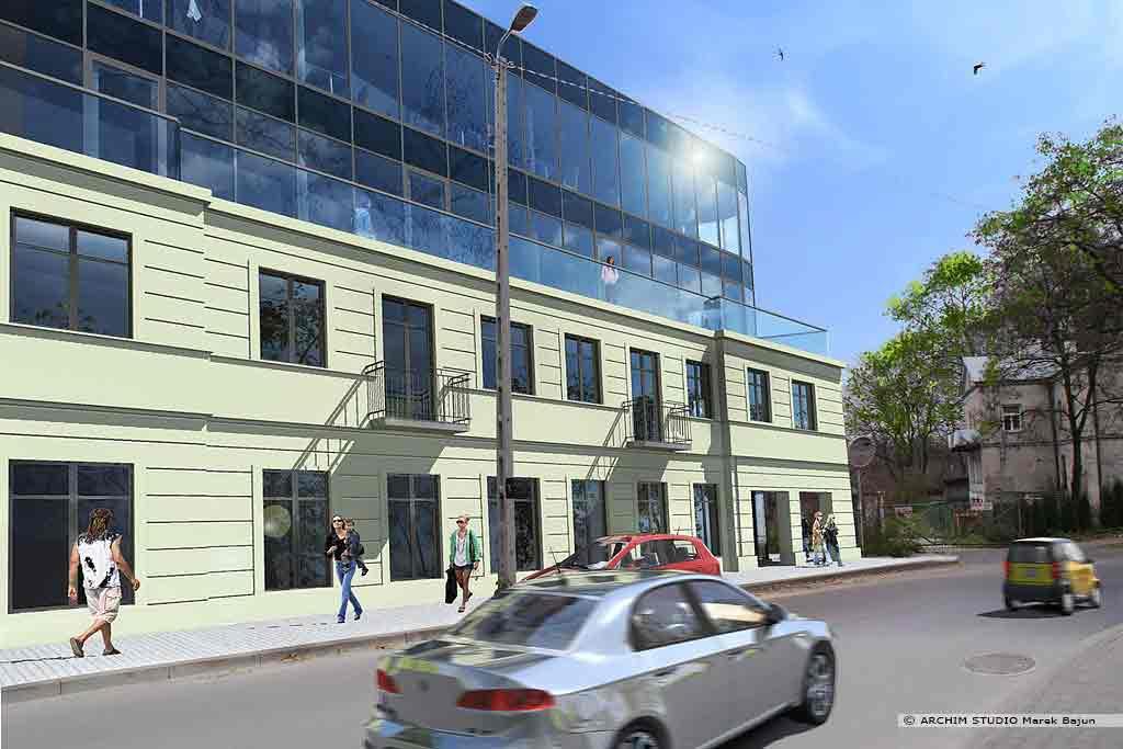 Rozbudowa i nadbudowa budynku- widok elewacji