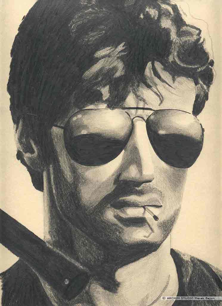 Sylwester Stallone portret narysowany ołówkiem