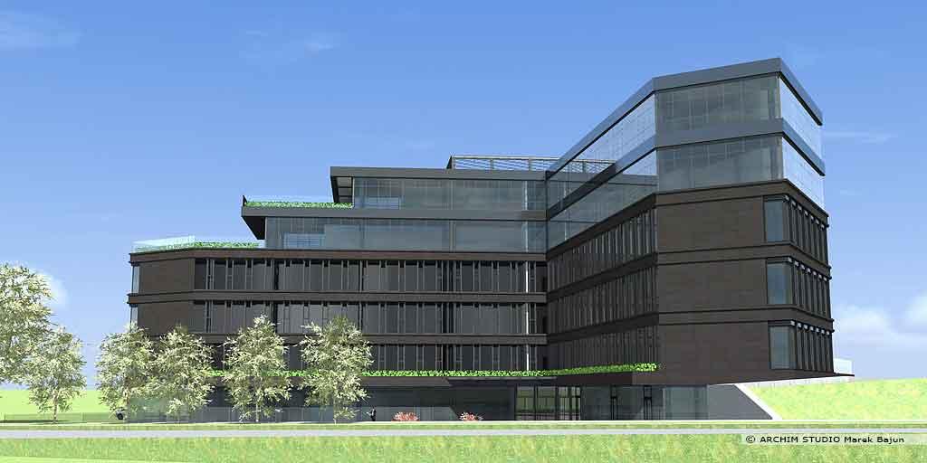 Projekt budynku biurowego z usługami