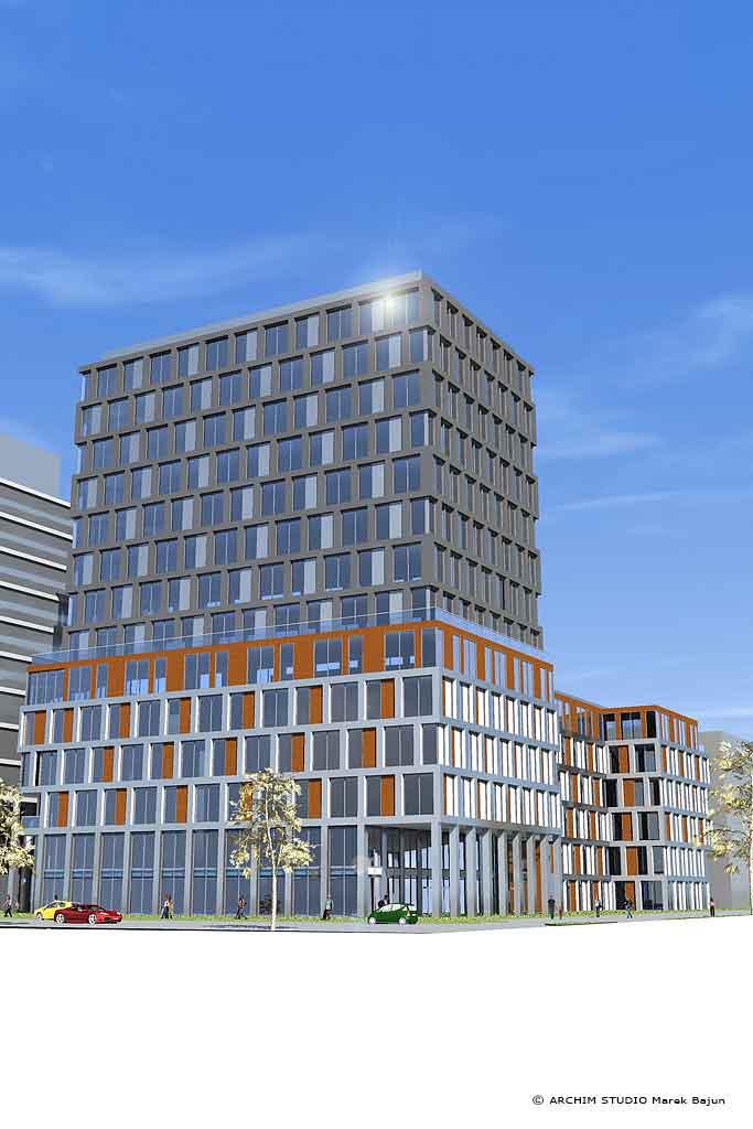 Projekt budynku biurowo handlowego