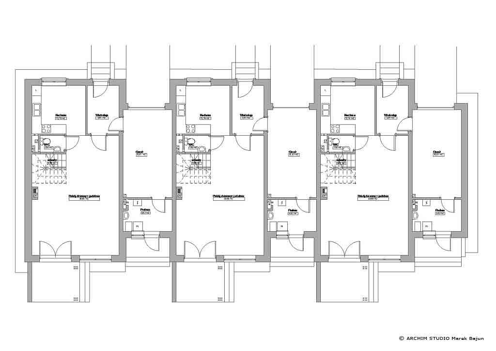 Projekt budynku szeregowego z tarasem-rzut parteru