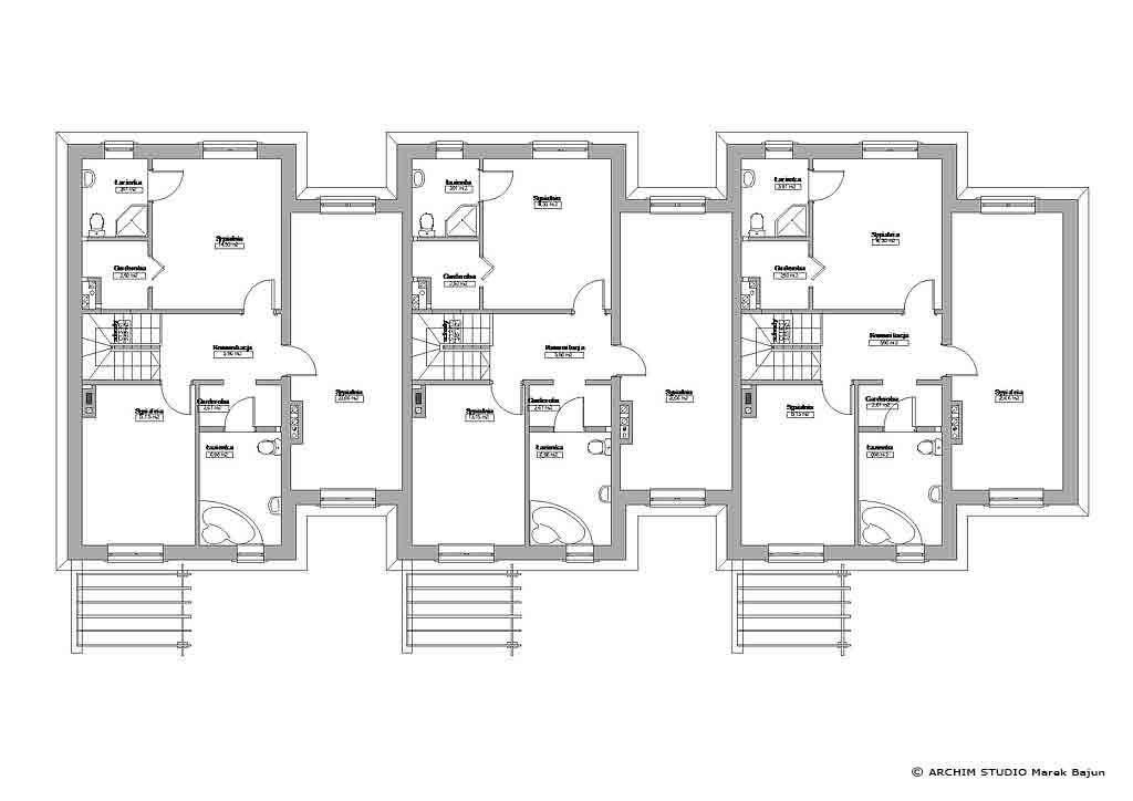 Projekt budynku szeregowego z tarasem-rzut poddasza