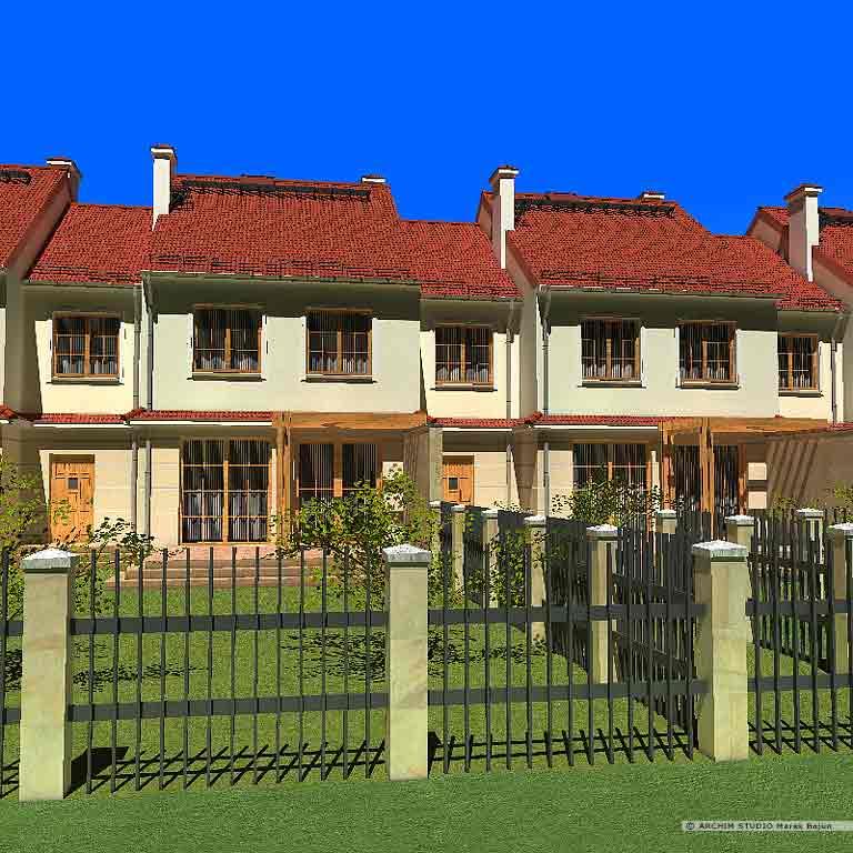 Projekt domu szeregowego z ogródkiem