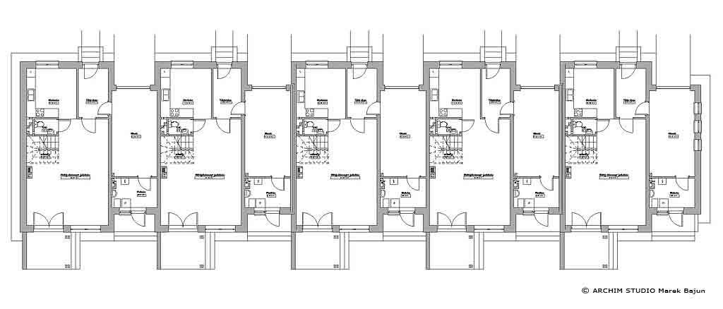 Projekt domu szeregowego z ogródkiem- rzut parteru