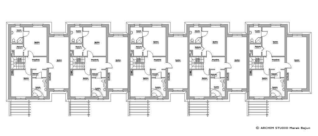 Projekt domu szeregowego z ogródkiem- rzut poddasza