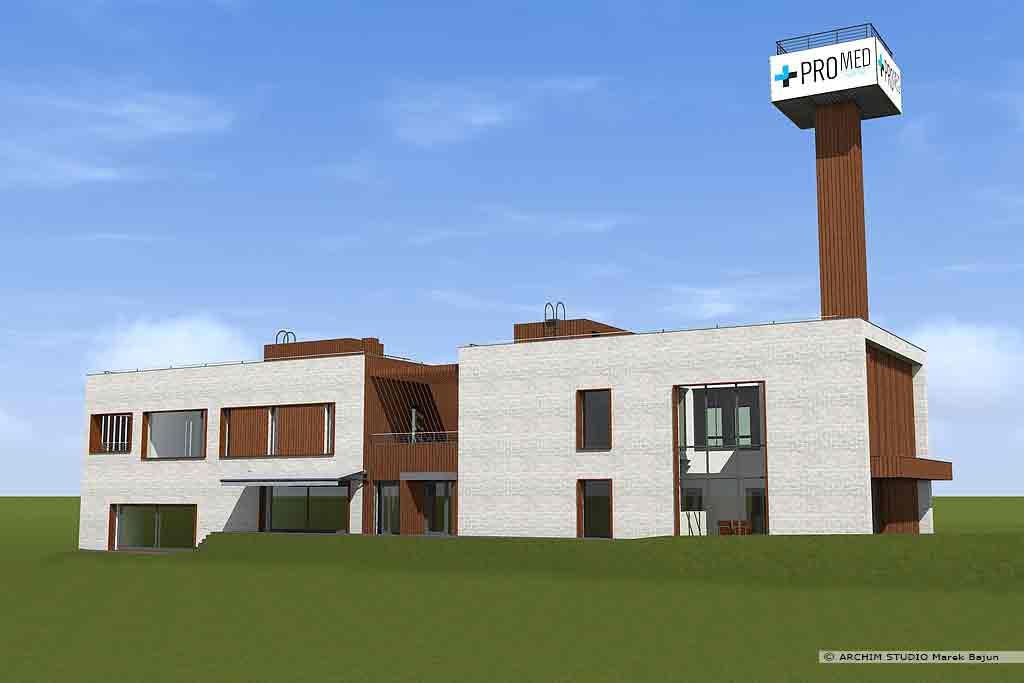 Projekt domu z dachem płaskim i usługą