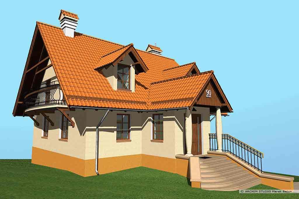 Projekt domu z dużymi okapami