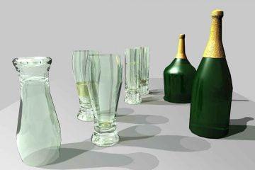 Obiekty ArchiCad butelki szklanki