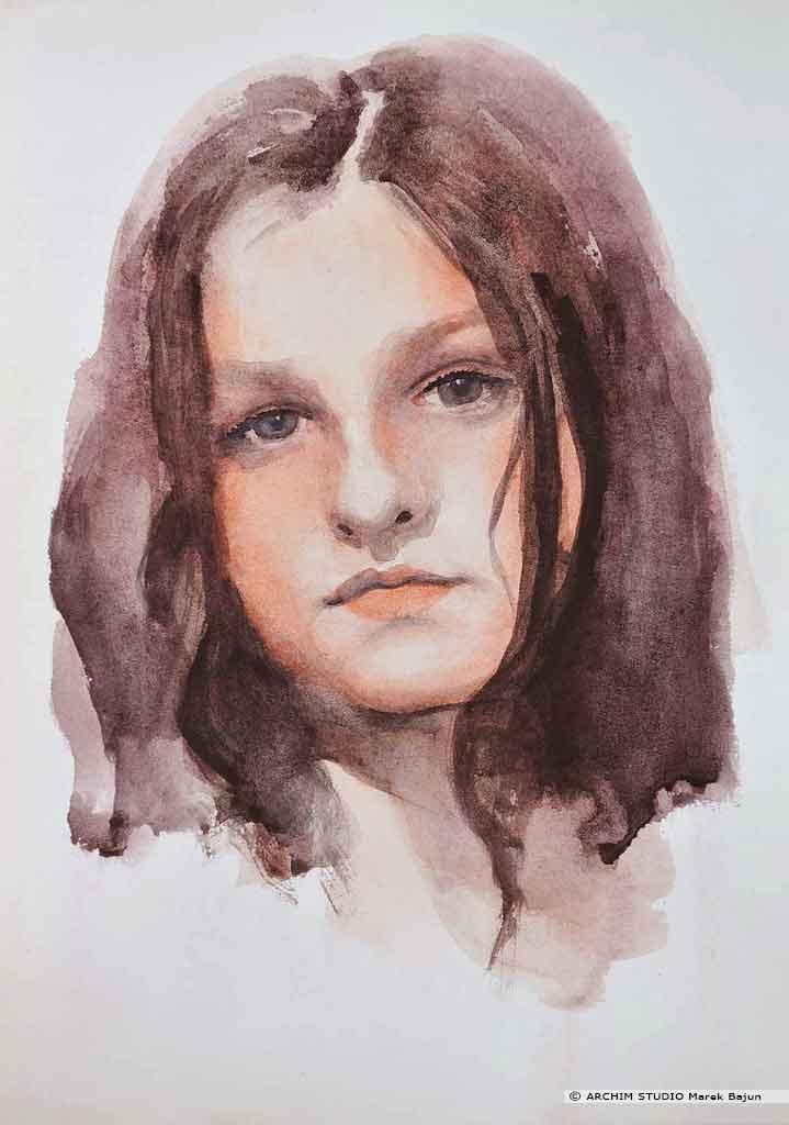 Portret akwarelą