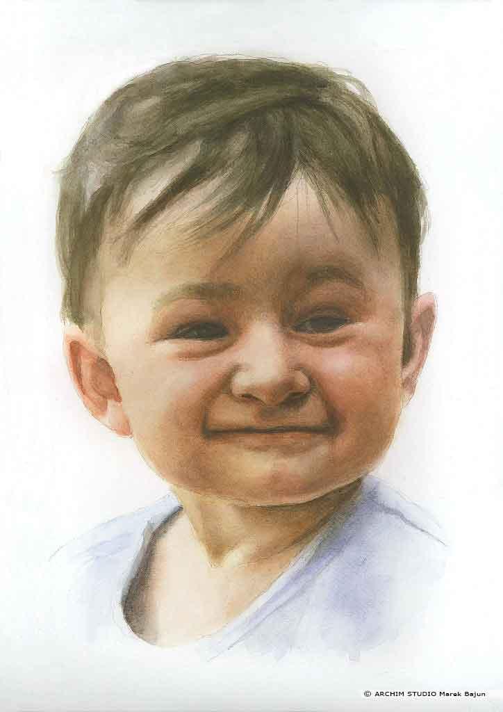 Portret dziecka akwarelą