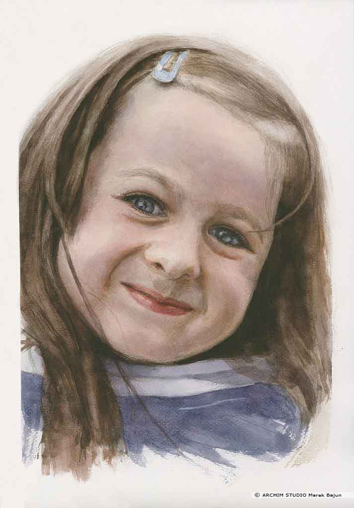 Portret dziewczynki akwarelą