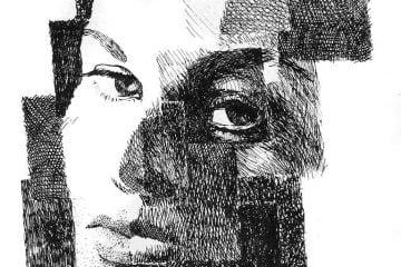 Portret kobiety piórkiem