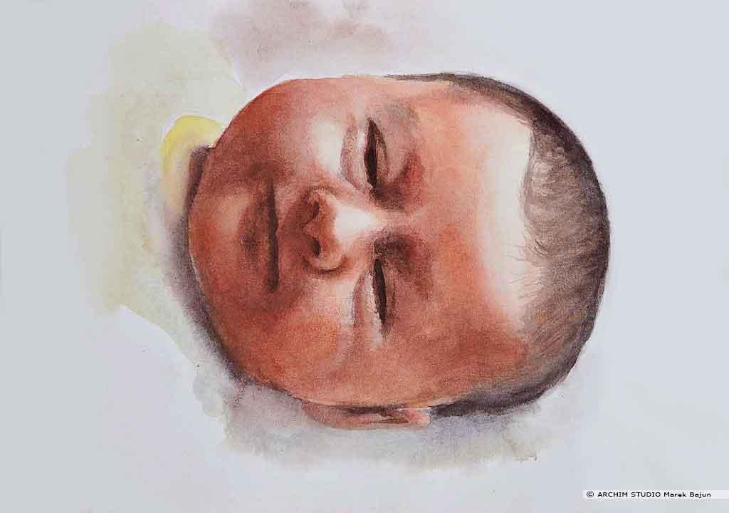 Portret niemowlaka akwarelą
