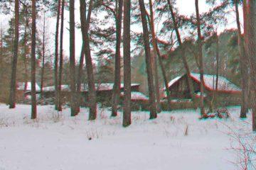Domy w zimowym lesie- anaglif