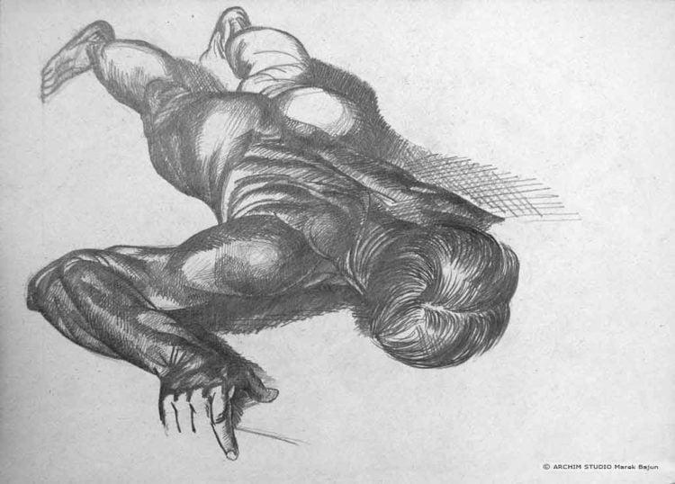 Kopia rysunku leżącego człowieka