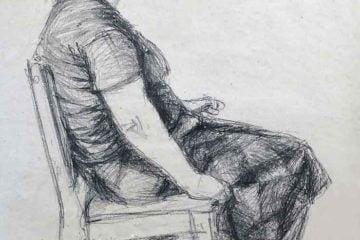 Rysunek siedzącej kobiety