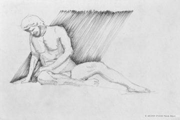 Rysunek ze szkicownika rzeźby Umierającego Gala