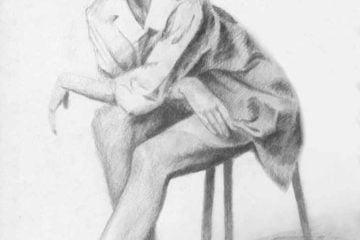 Siedząca kobieta- rysunek ołówkiem