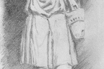 Ze szkicownika rysunek rzeźby Dobrego Pasterza